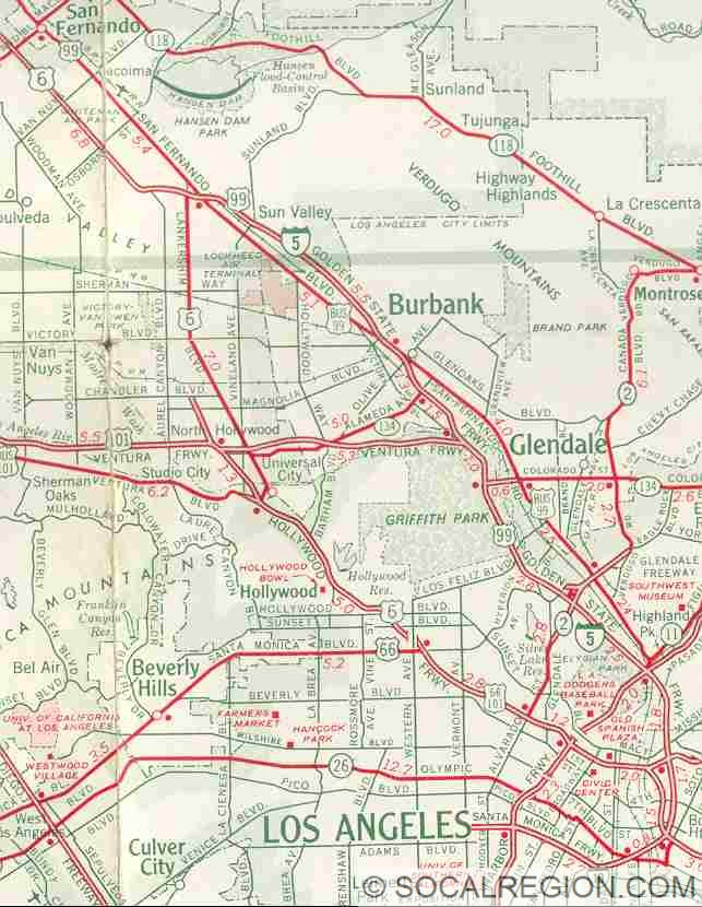 1963 map showing US 6 heading down Lankershim Blvd (former LR-159). It was never signed.