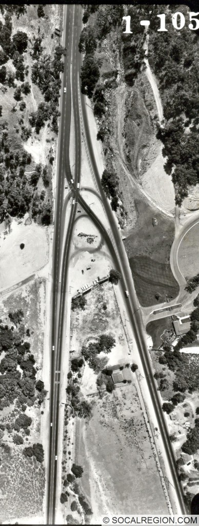 View of the original intersection of Sierra Highway and San Fernando Road in 1964.
