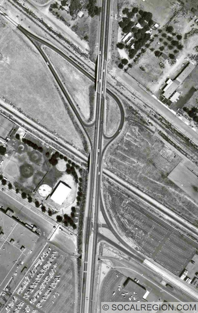 Interchanges for Pomona Blvd and 2nd St. These bridges and ramps were constructed in 1938. The bridge over the upper set of tracks was originally built in 1926.