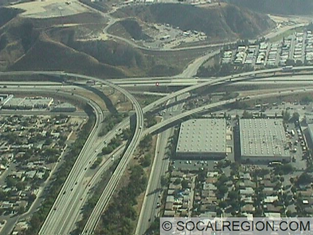 Aerial view of the 118 at the 210. Paxton St is the prominent road parallel to the 118.
