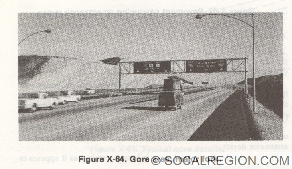 Original signage at the 5 / 405 split. Note the US 6 signage. The 405 overhead was still there until a few years ago.