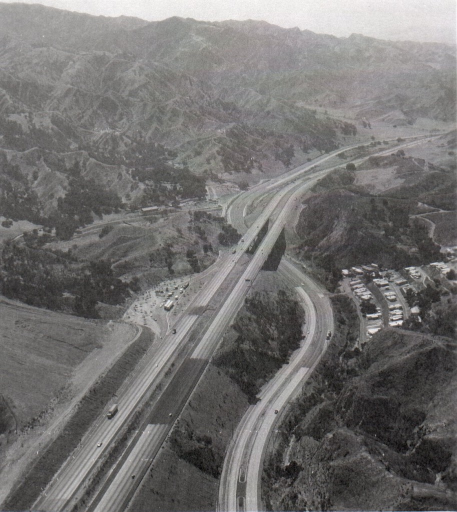 Aerial view from around 1970 showing the Gavin Canyon bridges and the old southbound I-5 rest area.