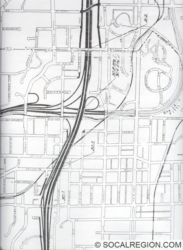 Map of one of the proposed 710 / 110 Interchanges.