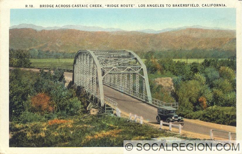 Original Santa Clara River bridge. Postcard is mislabeled as Castaic Creek, which was a thru-girder style.