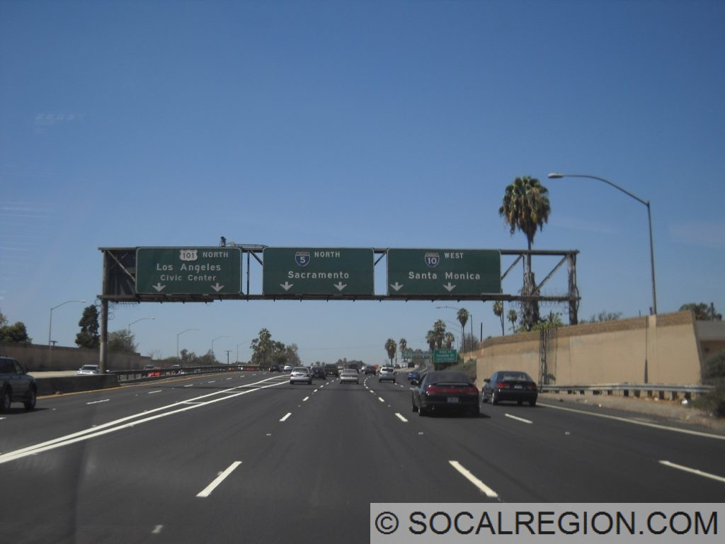 Santa Ana Freeway split with US 101, I-5, and I-10