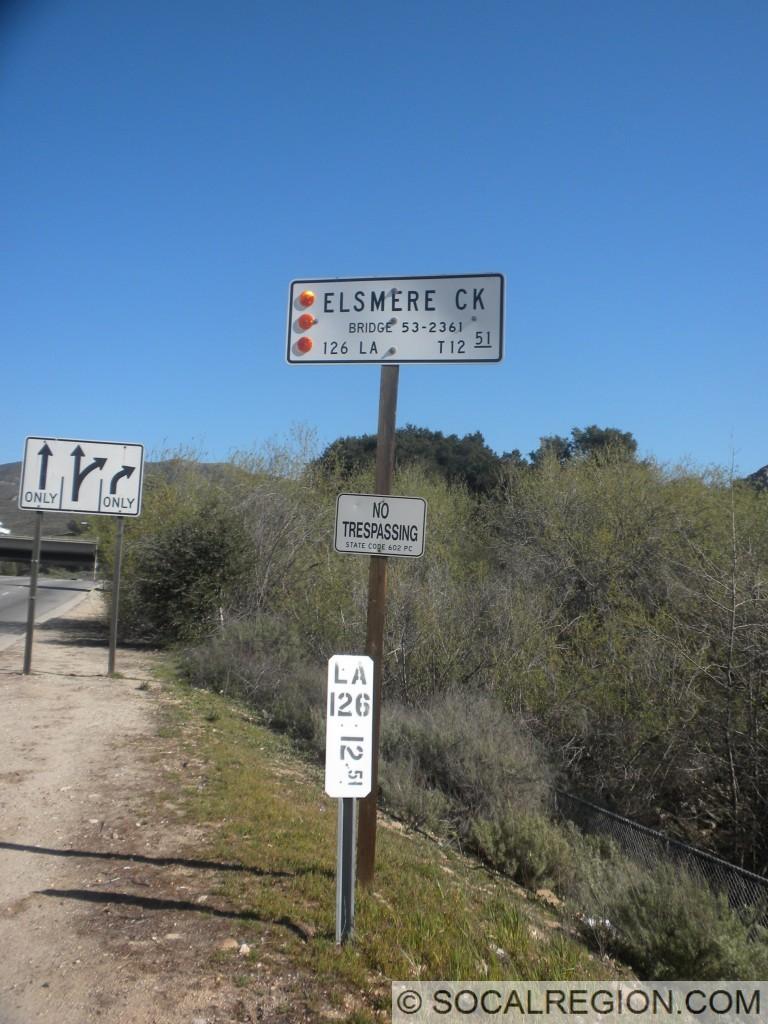 Bridge sign and postmile marker at Sierra Highway.