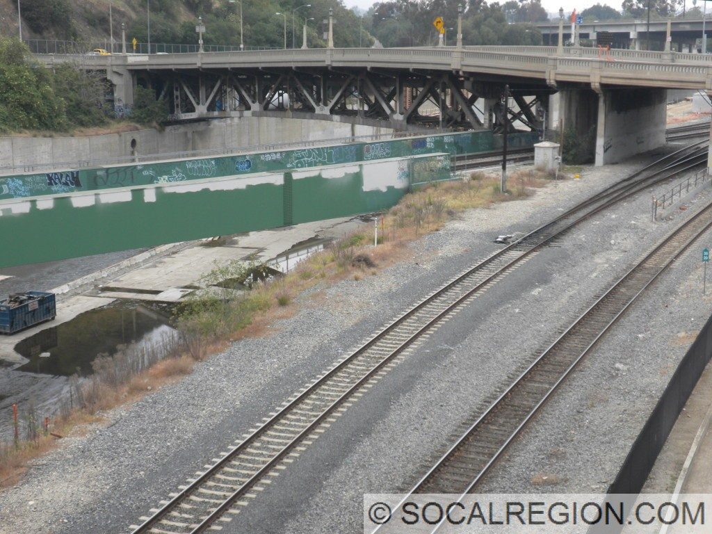 Old Figueroa Street Bridge over the Los Angeles River. Formerly a concrete arch bridge, it was remade into the steel arch span in the late 1930's.