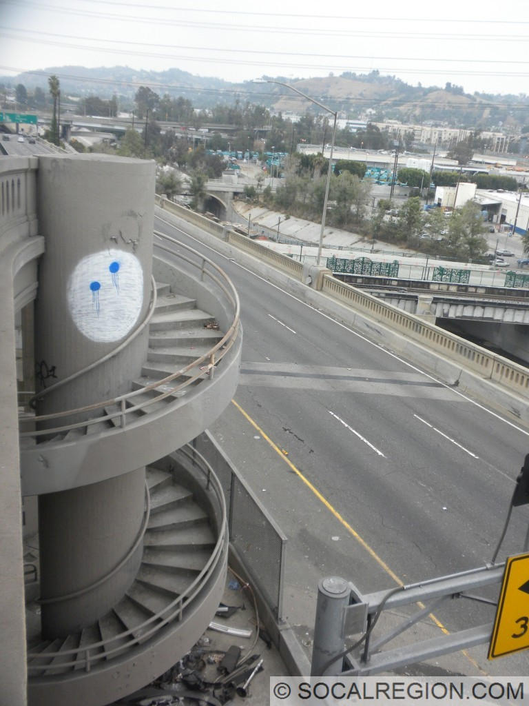 Spiral staircase leading from the northbound lanes to the southbound lanes.