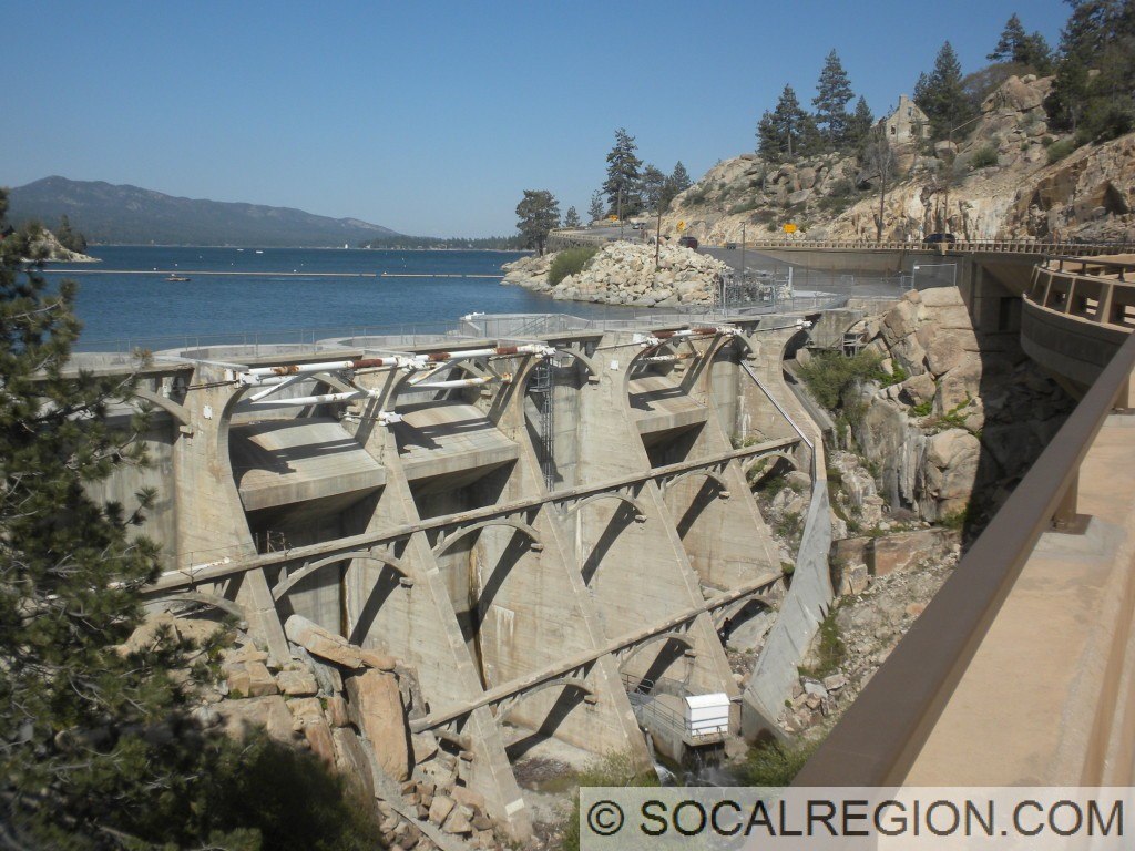 Big Bear Dam. Built in the 1920's, the highway formerly went on top. The old bridge was removed when the current structure was opened in 2011.