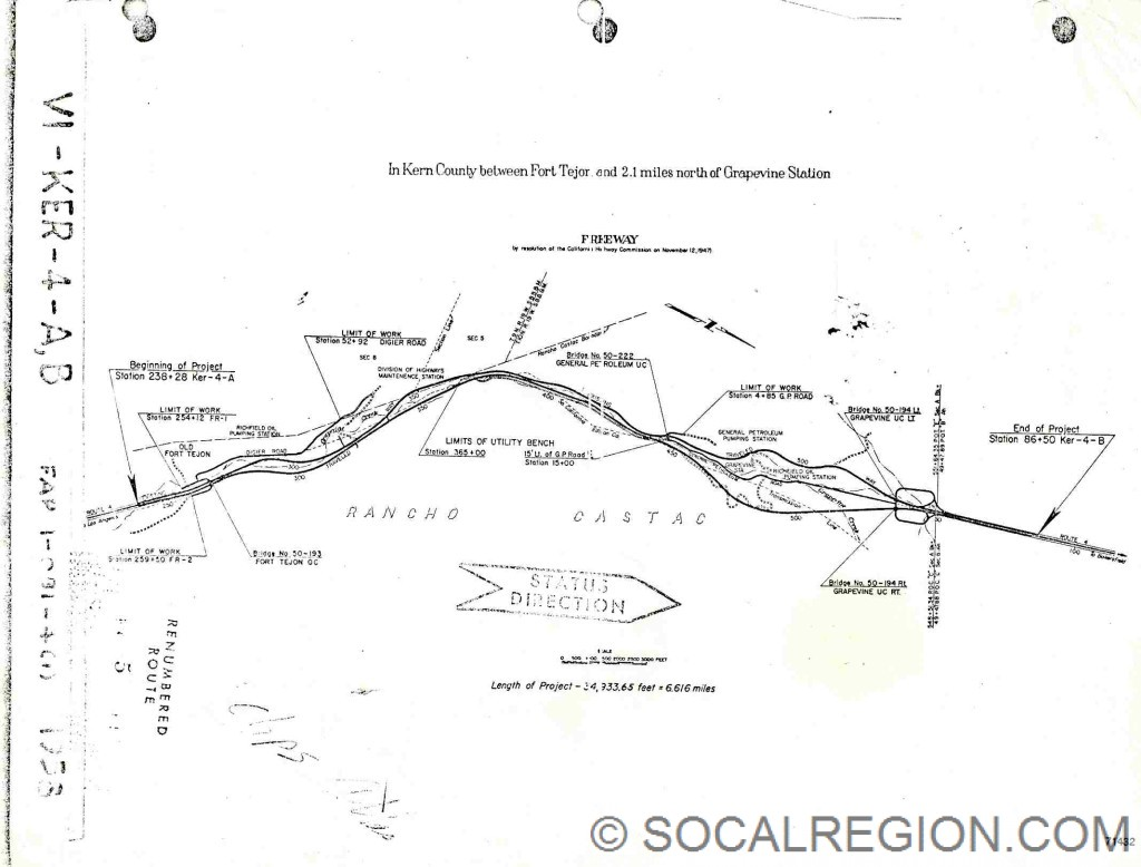 Map showing the 1960 freeway upgrade for Grapevine Canyon.