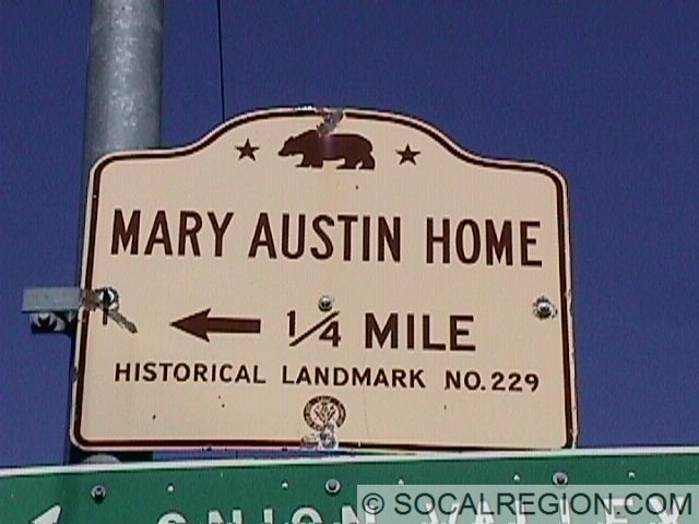 1950's Historical Landmark sign at the Onion Valley Road junction.