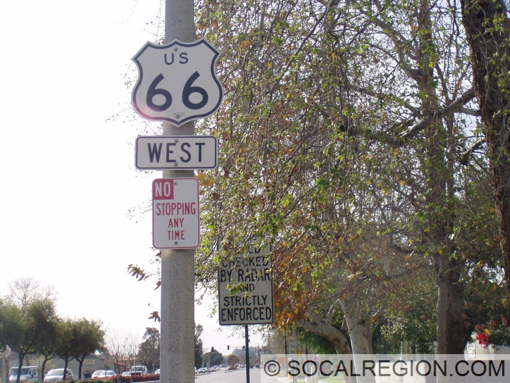 US 66 signage in Rancho Cucamonga in February 2009.
