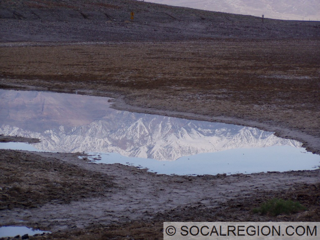 Telescope Peak reflected in one of the small perennial pools at Badwater.