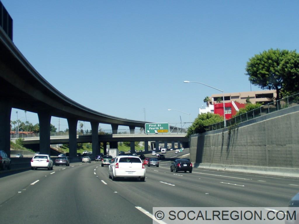 Passing through Santa Ana. High bridge is the 5/55 HOV connector.