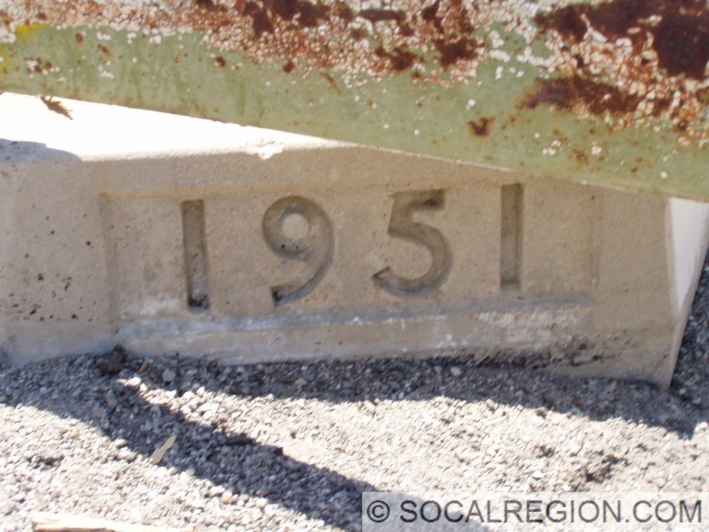 Detail of 1951 date stamp on the southbound side.