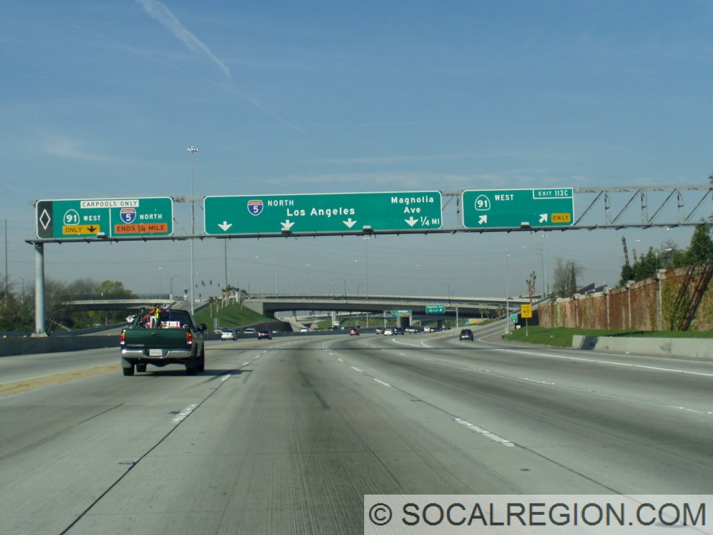 Northbound approaching the 91.