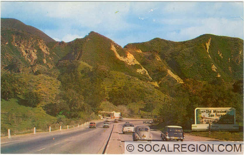 Postcard view of US 6 in the 1950's. The 14 Freeway bridges would be directly overhead at this point.