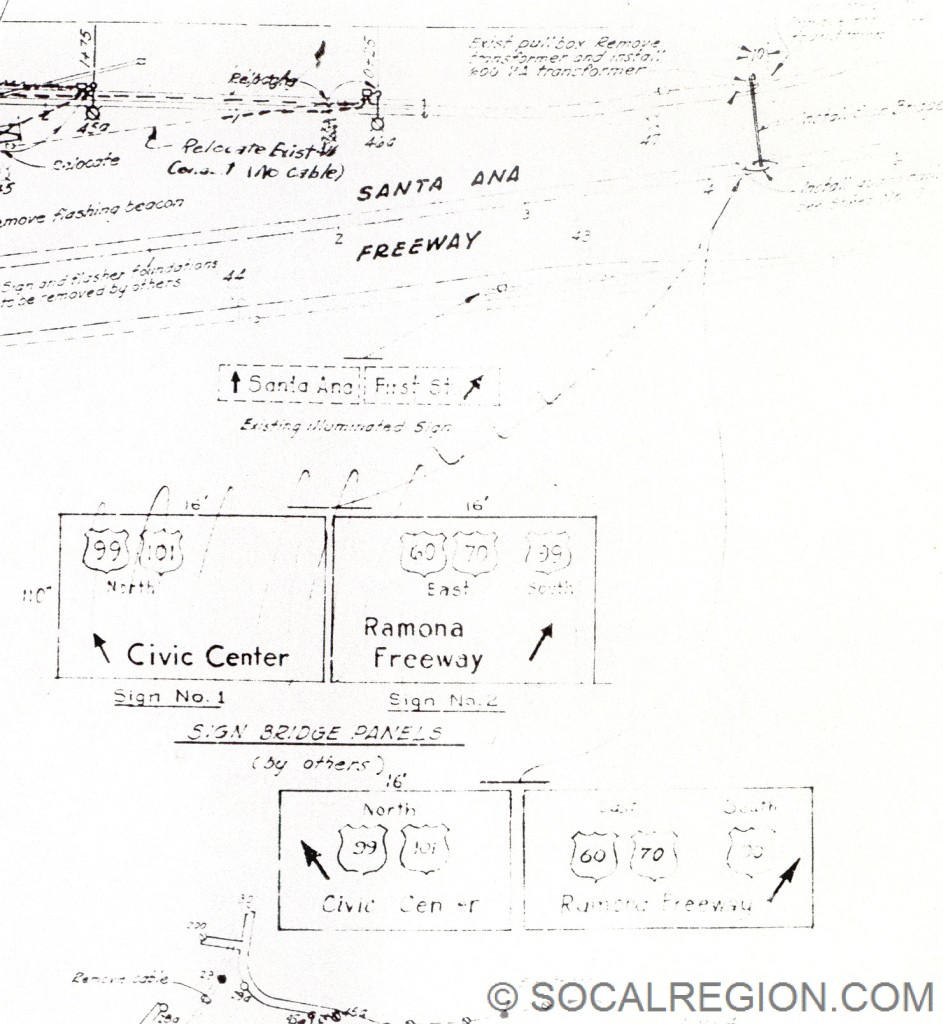 Sign plans from 1954 showing the signage at the San Bernardino Split, heading NB.