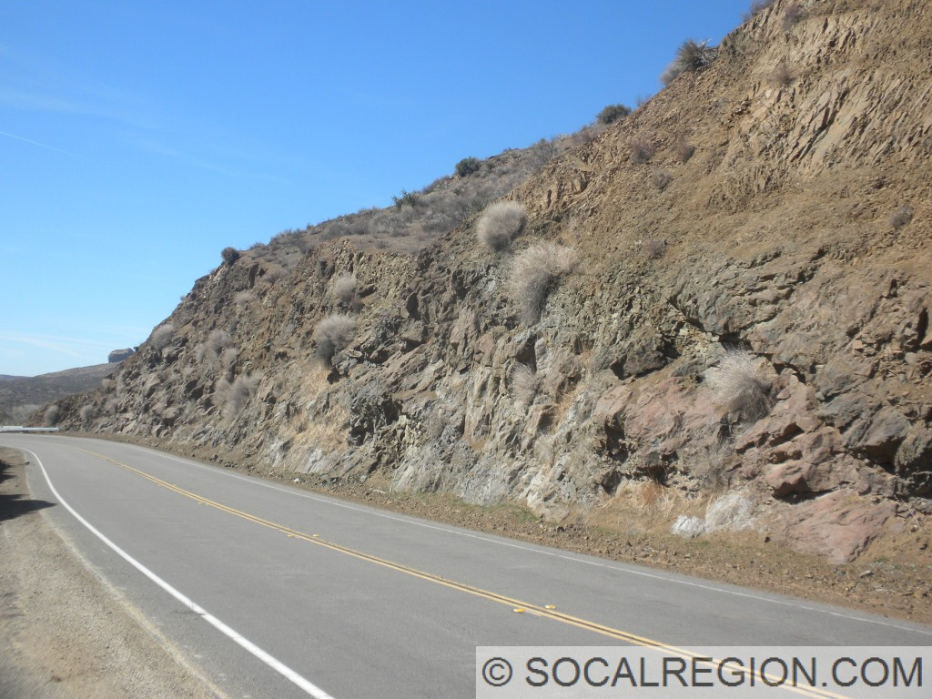 View of basalt outcroppings along Soledad Canyon Road near the eastern Santa Clara River bridge.