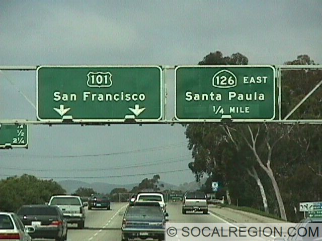 Older signage on NB 101 approaching the 126 Freeway in Ventura.