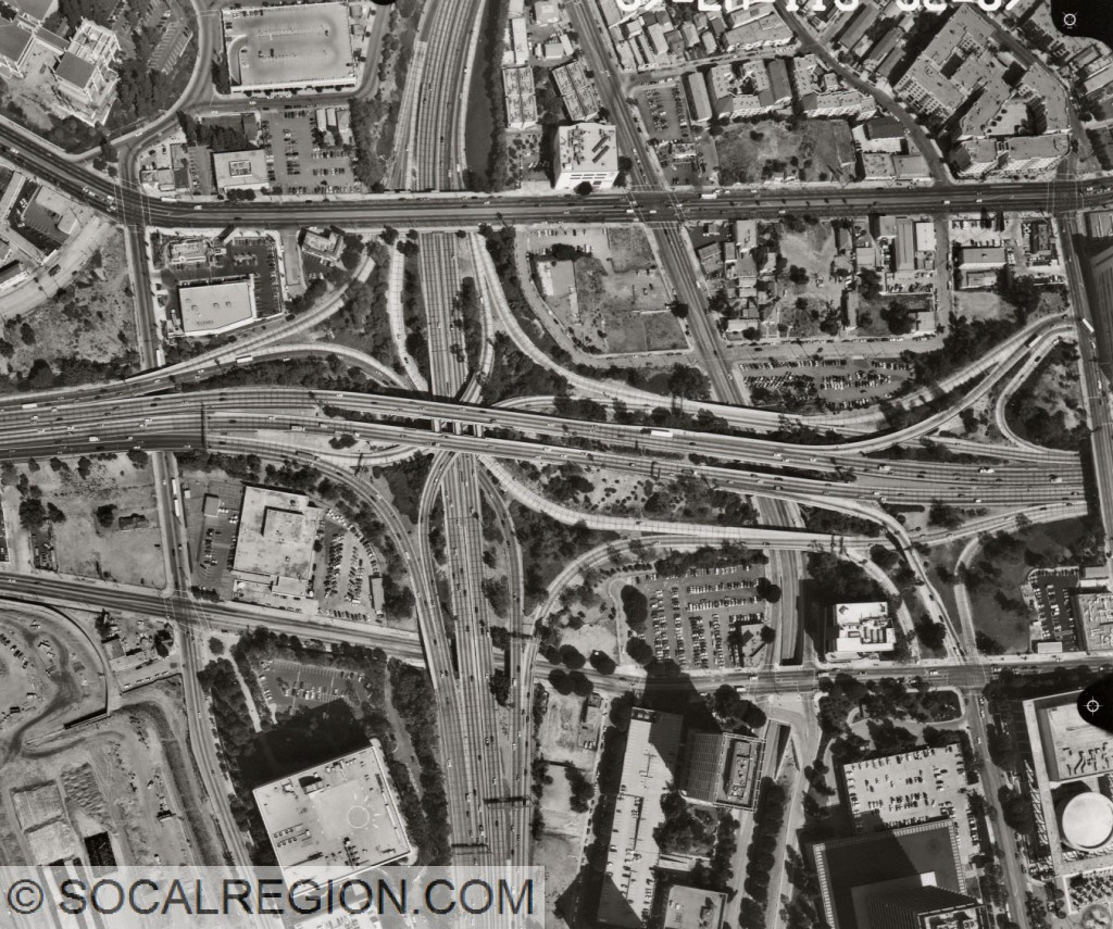 Aerial view of the Four Level from 1998. Courtesy - Caltrans