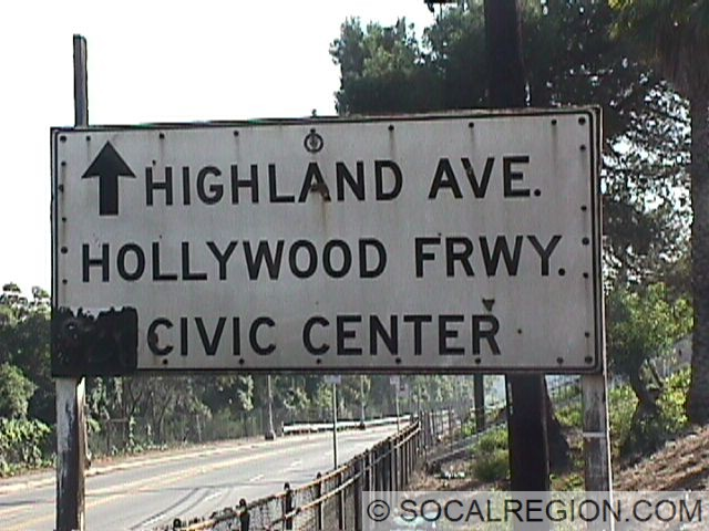 "Old signage at the Highland Ave offramp, on Cahuenga Blvd. A left arrow next to ""Civic Center"" marked a former onramp to SB US 101."