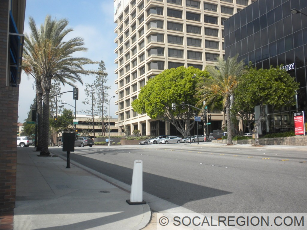 Former north end of SR-110 at the junction with Arroyo Parkway (former Broadway) and Colorado Blvd in Pasadena.