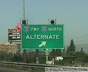 Signs placed at certain exits along the 405 from LAX to Sunset Blvd. This section of I-405 is the most congested. Alternate I-405 and I-10 shields