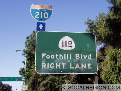 Old State 118 sign on Foothill near Sunland Blvd. Note the white shield.