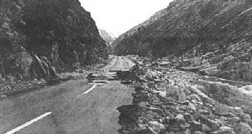 1942: Flood damage about 1 mile inside the Kern Canyon