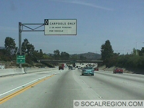 Eastbound section of the freeway near Glendora. Carpool exit is for Grand and Sunflower.