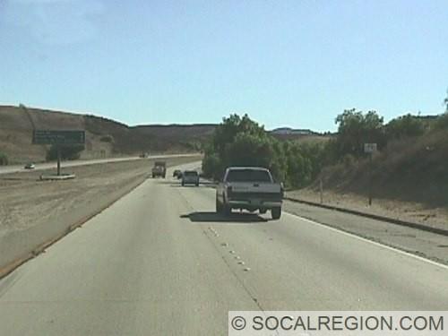View of the freeway between Olson Road and Tierra Rejada Road.