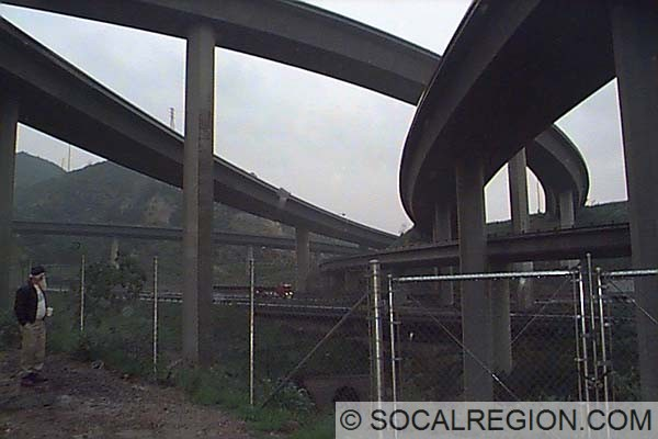Underneath the 5 / 14 interchange looking north from The Old Road. This photo was taken in 1997.