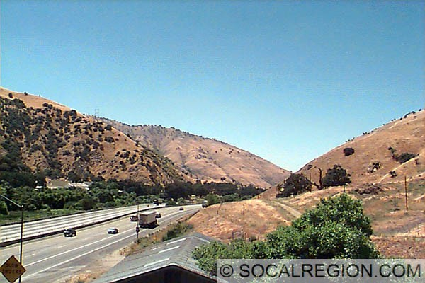 I-5 from Ft. Tejon Bridge looking down Grapevine Grade and Canyon.