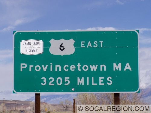 Sign marking the distance to Provincetown, MA - the east end of US 6.