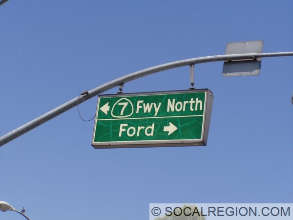 At Floral Drive at I-710, this sign still reflects old SR-7.