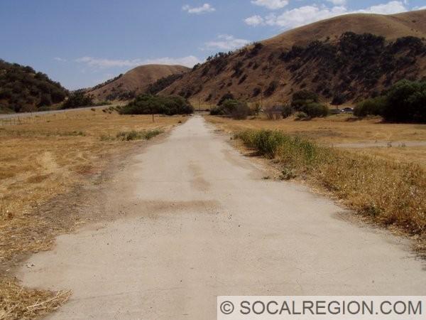 Old alignment of the Ridge Route near Lebec School.