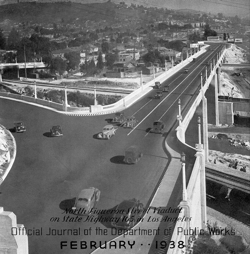 1938 view of the Los Angeles River bridge.