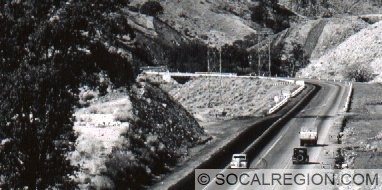 Bridge over Grapevine Creek. Built in 1933 and removed in 1959.
