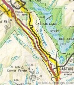 This map shows all of Five Mile Grade from Castaic to Violin Summit. Note the two crossovers on each end of the grade.