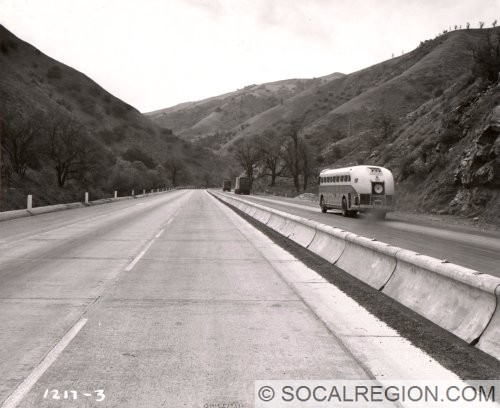 Concrete divider in use. Photo taken in 1947 by Caltrans.
