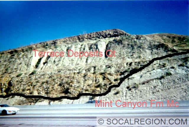 Roadcut along Highway 14 showing terrace deposits abutting Mint Canyon Formation rock below.