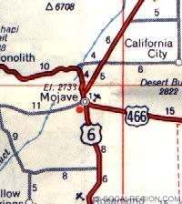 Map of the Mojave area from 1963. US 466 is now SR-58.