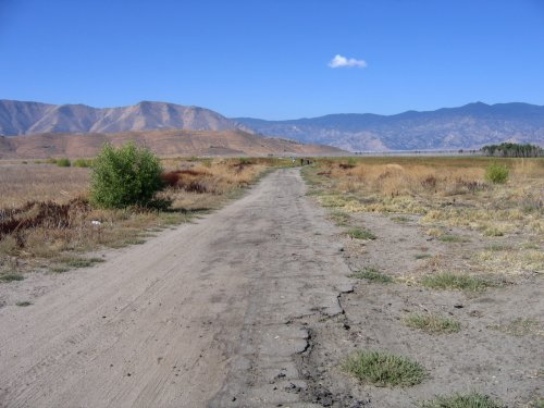 In 2006: Original highway alignment coming up from the lakebed near South Lake.
