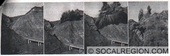 Blasting at Pyramid Rock in 1951 during widening and channel realignment.