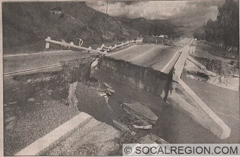 Bridge over Mint Canyon Creek just south of Davenport Road. Originally built in 1934, it was washed out in 1993.