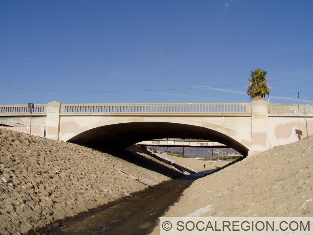 View of Pacoima Creek and the bridge.
