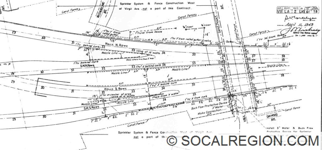 Drainage plan from 1949 showing the ramps for the Santa Monica Freeway at the Hollywood Freeway.